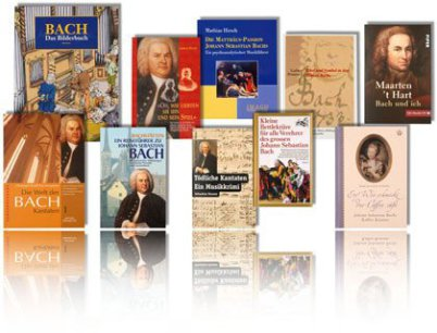 You see a collection of 10 Bach books facing the viewer in two rows in front of white background. At the bottom of the picture there is a mirror. All books are about Johann Sebastian Bach and pic is colorful.