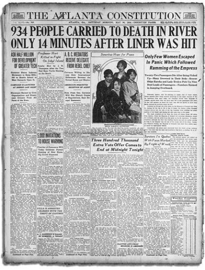 "It's a copy of a whole newspaper page from 1914 with a big headline about the sunken Empress of Ireland. The headline is large and the newspaper's name is ""The Atlanta Constitution""."