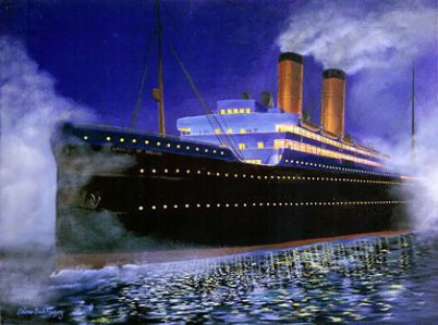 It's a breathtaking nowadays oil painting: a cruise ship, lower part black, upper part white and yellow chimneys. You see smoke coming out and the ship mirrors in the sea.
