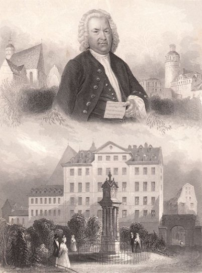 "It is a brownish historic postcard. Upright format. The upper half shows Bach like he is displayed on the Haussmann painting,. the lower part shows the ""old Bach monument"" next to St. Thomas School."