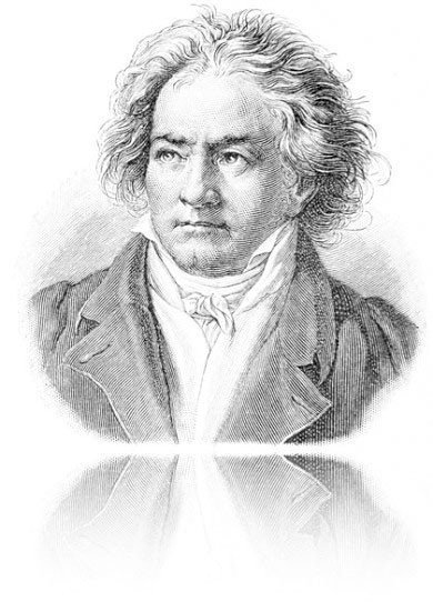 An engraving of Ludwig van Beethoven in black and white and it's on white background with a mirror at the bottom of the picture.