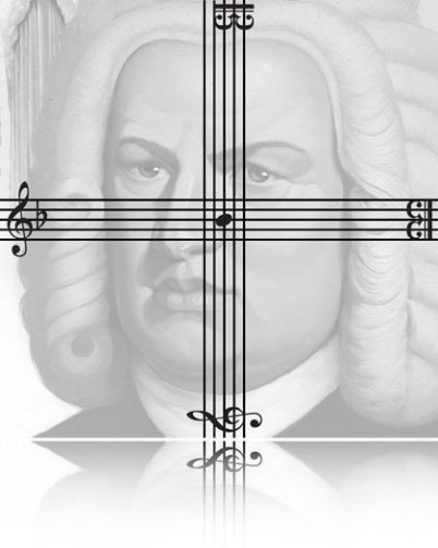 In the picture it's a painting of Johann Sebastian Bach's face in greyish colors. Over it two note lines are crossing from left to right and from upper end of the picture to the lower end.