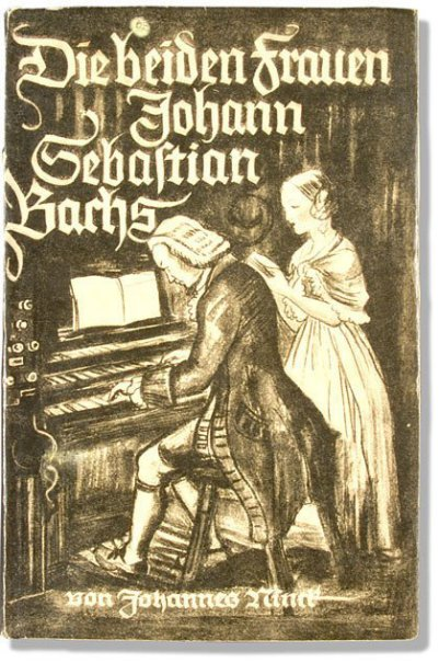 "It's a book about ""The two wives of Johann Sebastian Bach"", which is the title in German. The cover is an historic painting, brownish. It's by Johannes Ninck. Bach is sitting in front of his piano and a lady is behind him."