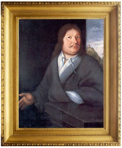 Father of Johann Sebastian Bach, Johann Ambrosius is sitting at a table. It's an oil painting with a gold frame. In the window you see Wartburg Castle. Johann Ambsosius Bach has long hair and looks to you.