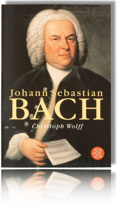 The most scientific up-to-date biography about Johann Sebastian Bach by Christoph Wolff. Aside of the wording on the book there is the painting of Elias Gottlob Haußmann on the cover.
