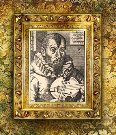 In a much too big golden frame there is a very old engraving of a musician visible. He has a strange hairdo and is holding a violin. He is looking very serious.