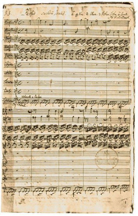 You see a historic note sheet with notes on it. And that is in the handwriting of Johann Sebastian Bach. It is brownish.