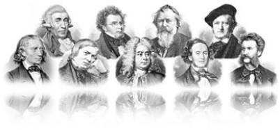 Musikerfamilien, berühmte Musikerfamilien: Im Bild sind 2 Reihen klassische Komponisten aufgereiht. Es ist ein extremes Breitformat und es spiegelt sich unten. 9 Komponisten sind als klassische schwarz/weiße Stahlstiche dargestellt, jeweils bis zur Schult