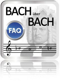 "It's a button, which say ""Bach ueber Bach"", a note line with the B-A-C-H notes and a button. On the button are the letters FAQ."