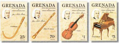 Four postage stamps from Grenada display instruments and the head of Johann Seastian on each stamp. The value is 25 and 70 Cents, plus 1 and 2 Dollars.