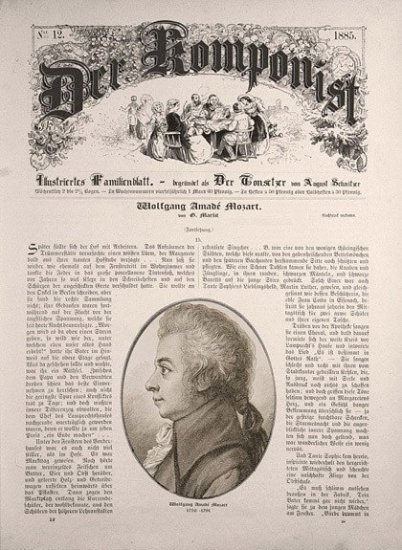 "This illustration looks like a historic newspaper front page and is a fake/illustration. Its name is ""The Komponist"" and shows a portrait of Mozart in the lower part in an oval. There never has been such a magazine."
