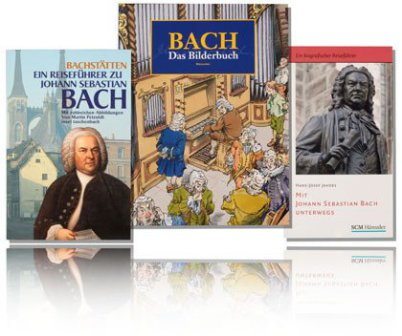 The pic shows three Bach books on a white background with a mirror at the bottom. It's one travel book, one children's book and another travel book.
