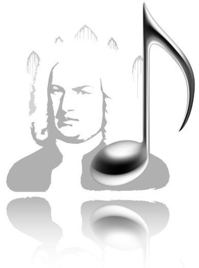 It's an illustration of a grayish Bach face plus a 3-D-music.note which is as high as the portait. All that is on white background and there is a mirror at the bottom of the illustration.