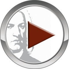 A round grey silver button has a red triangle on it and in between the button surface and the triangle there is the Bach portrait in greyish colors. This button is round.