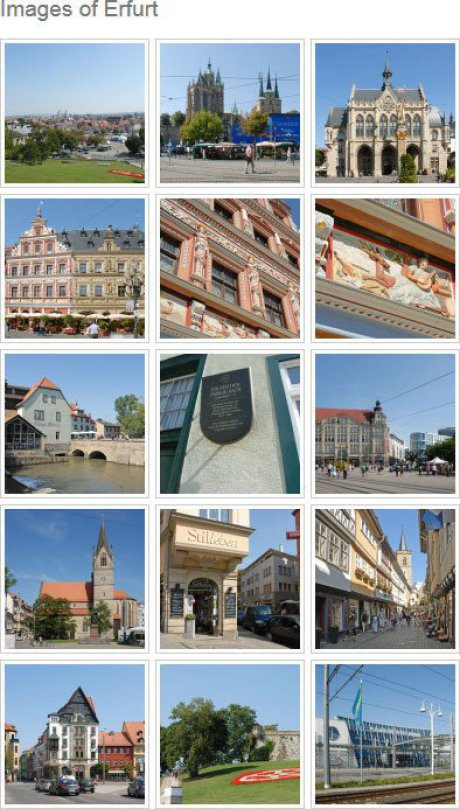 15 images, three in each level are modern photos taken with best weather and show sights of the city of Erfurt. All are square.