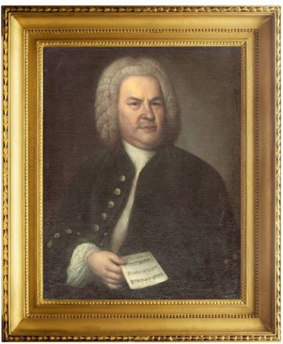 The most famous paining of Bach by Elias Gottlieb Bach in a big golden frame. Bach is looking to the artist and has a note sheet in his right hand. Of course he has his peruke on.
