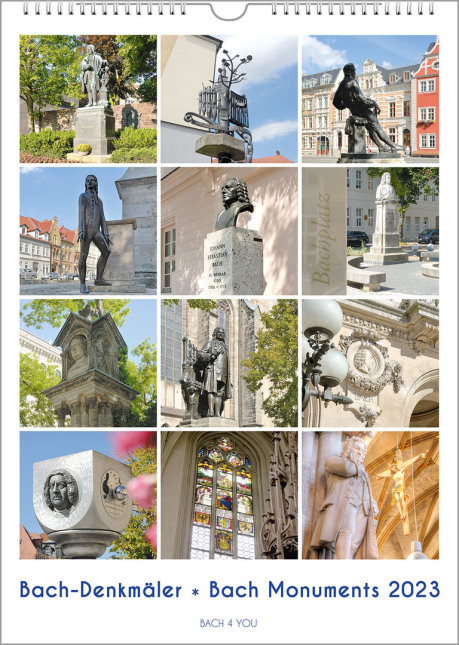 """The Bach calendar is a music gift. It's an upright wall calendar. 12 photos show 12 Bach monuments. The title is at the bottom: """"Bach Monuments""""."""