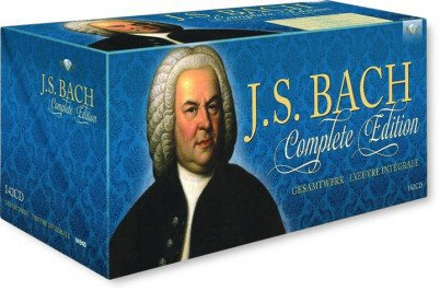 "It is a blue box with CDs and Bach's music. There is a colorful portrait of Johann Sebastian Bach and his name and the words ""Complete Edition"" on the box."