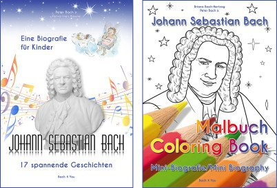 A Bach biography for children is on the left side, a Bach coloring book on the right. Both present Johann Sebastian Bach. The biogrphy is in blue and white, the coloring book is colorful.