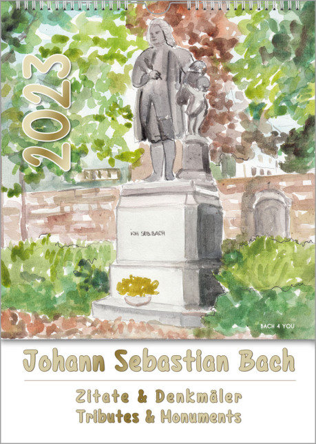 This Bach calendar as a music gifts shows the title page of a collection of 12 water colors or Bach monuments. The title is the monument of Bach in Eisenach. There are also 12 tributes in this music gift.