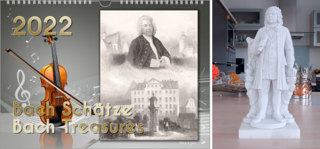 The music gift Bach calendar is a landscape wall calendar. On the left in the upper part is the date of the year, below that is a violin. On the right is a historic postcard with JSB, the title is in gold letters.