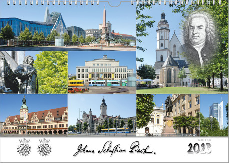The Bach calendar, a gift for musicians: It's a landscape format wall calendar with 8 photos from the Bach cities in Germany. In the right upper corner is a portrait of Bach, at the bottom, the signature, the seal and the year show up.