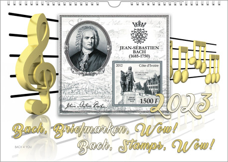 On a Bach Postage Stamps Calendar you see an illustration of golden notes and note lines. In the middle there is a greyish stamp with a portrait of Bach and more. The calendar title and the year is shown, too.