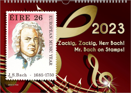 The Bach calendar gift for musicians. It's a dark red background and golden notes. On the right is the date of relase and the title of the calendar. On the left side is a Bach postage stamp.
