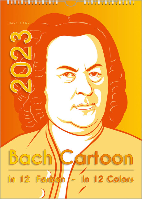 "The music gifts Bach calendar shows a cartoon of the well-known Haussmann painting of Johann Sebastian Bach. The colors are orange and yellow. There is the year in large letters, too. In addition the words ""Bach Cartoon"" and ... in 12 colors""."