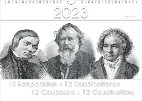 The composers calendar is a music gift. On top there's the date of the year, at the bottom is the title. In the middle of the landscape wall calendar are three composers in black and white.